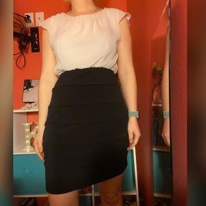 White and black midi length dress